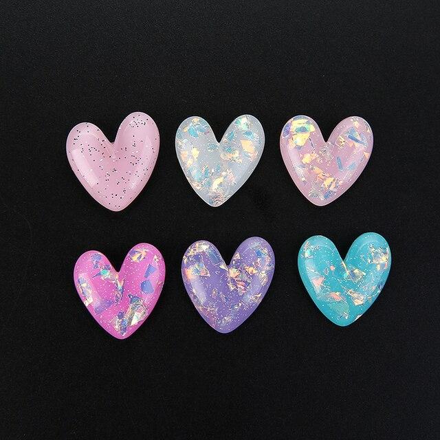 Купить 10 шт милый кулон в виде сердца из смолы с плоской задней частью картинки