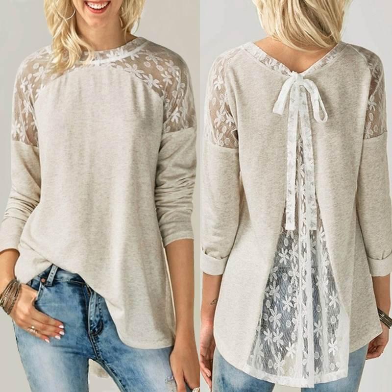 Stylish Lace Stitching Tops Women's Asymmetrical Blouse 2019 ZANZEA Long Sleeve Shirts Female O Neck Work Blusas Oversized Tunic