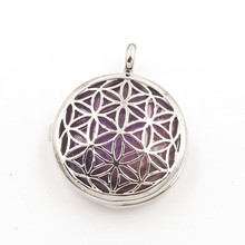 FYJS Unique Silver Plated Locket Hollow Flower of Life Natural Amethysts Stone Pendant for Anniversary Gift