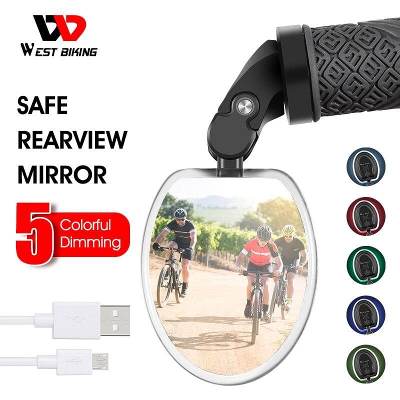 WEST BIKING-espejo retrovisor con luz LED para bicicleta, recargable vía USB, rotación de 360 grados, ajustable
