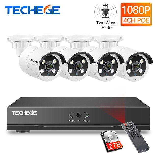 Techege HD 1080P 4CH וידאו מצלמות מערכת שתי דרך אודיו 2MP עמיד למים IP מצלמה דמוי אדם זיהוי 4CH 1080P POE NVR CCTV ערכת