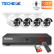 Techege HD 1080P 4CH Video Cameras System Two way Audio 2MP Waterproof IP Camera Humanoid detection 4CH 1080P POE NVR CCTV Kit