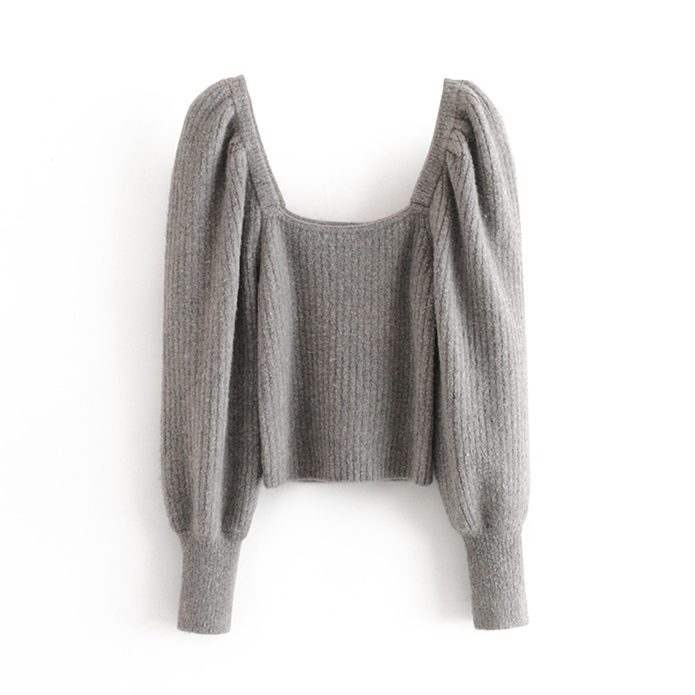 2020 Spring Women's New French Square Collar Puff Sleeve Exposed Clavicle Long Sleeve Basic Slit Stripe Slim Sweater