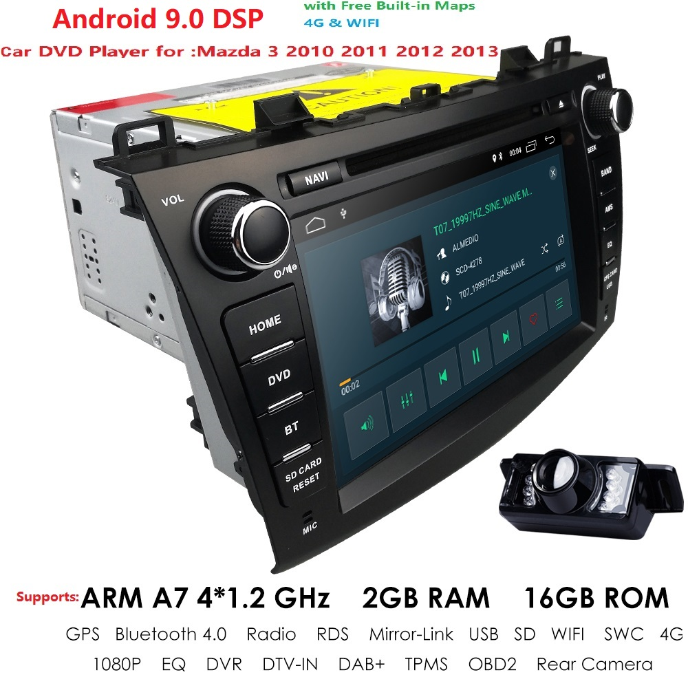 4G WIFI Android 9.0 Car DVD radio stereo Player For Mazda 3 2010-2013 1024*600 IPS Screen BT GPS DAB SD DVR Free rear camera image