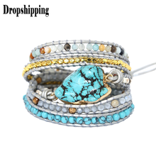 Peacock Blue Pearl bracelets-for-women Tophus Hand Woven Bracelets Leather Hand String Creative Multi-layer Hand Ornamen #ZC(China)