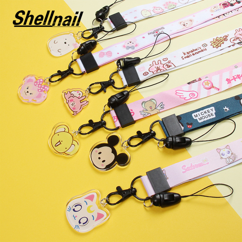 Shellnail Universal Cartoon Cute Broadband Fabric Adjustable Mobile Phone Lanyard For IPhone 11 Xs Lanyard Neck Strap Hang Rope