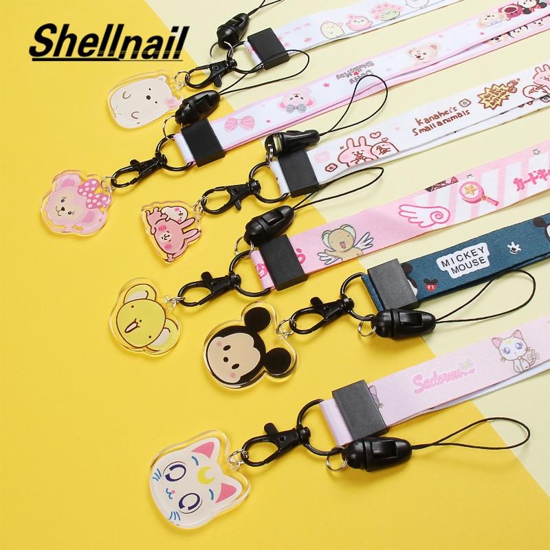 Shellnail Universal Cartoon Cute Broadband Fabric Adjustable Mobile Phone Lanyard for iPhone 11 Xs Lanyard Neck Strap Hang Rope