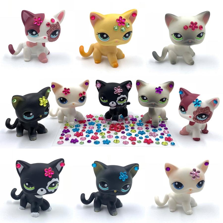 LPS CAT Pet Shop Toys Rare Animal Standing Short Hair Cat With Diamond Sticker Old Original Pet Toys Create Your Own Pet
