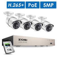 ZOSI H.265 8CH 5MP POE Kit de sistema de cámara de seguridad 4 piezas 5MP HD IP cámara exterior impermeable CCTV Video vigilancia NVR de 1TB