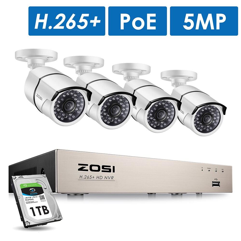 ZOSI H.265 8CH 5MP 4PCS 5MP HD IP POE Sistema de Câmera de Segurança Kit Câmera de CCTV de Vigilância de Vídeo Ao Ar Livre À Prova D' Água conjunto NVR 1TB