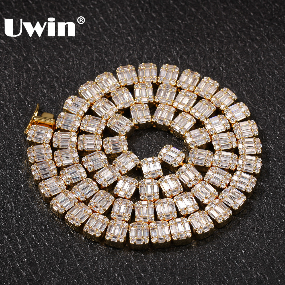 UWIN Bling Cubic Zirconia Necklace White Square Baguette Cluster Hiphop Chains Necklaces Fashion Men Women Iced Jewelry-in Chain Necklaces from Jewelry & Accessories    1