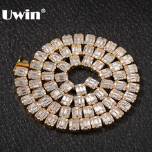 UWIN Bling Cubic Zirconia Necklace White Square Baguette Cluster Hiphop Chains Necklaces Fashion Men Women Iced Jewelry