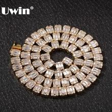 UWIN collier en zircone cubique blanc carré, Baguette, chaînes hip hop, bijoux glacés pour hommes et femmes à la mode