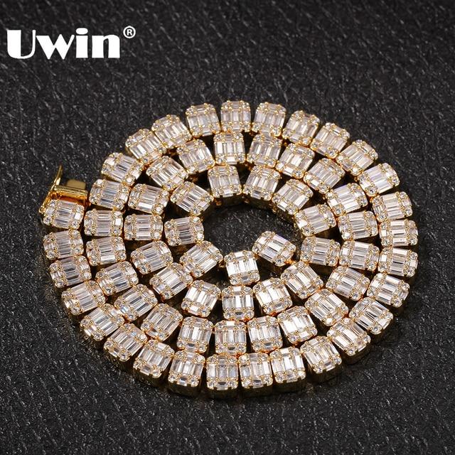 Ожерелье UWIN с кубическим цирконием, белый квадратный кластер багета, цепочка в стиле хип хоп, модные мужские и женские украшения со льдом
