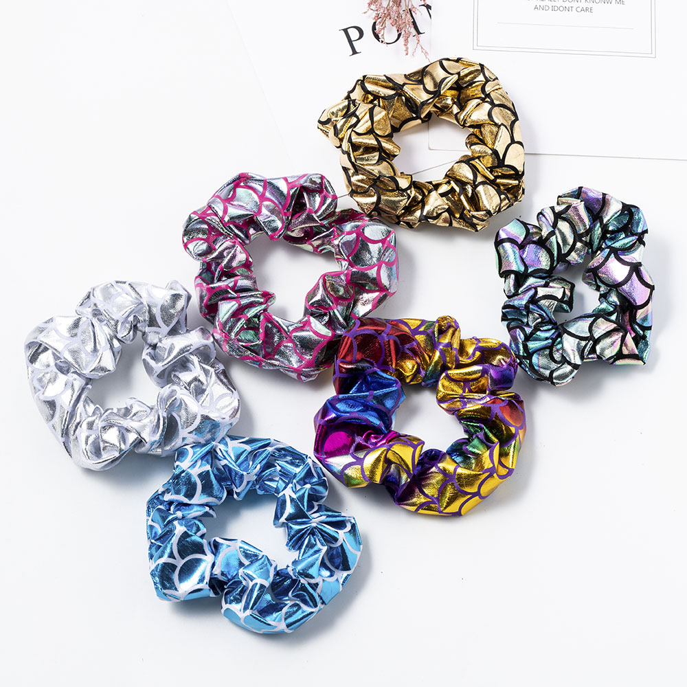 Glitter Fish Scale Pattern Scrunchies Shiny Hair Ring Rope Ties Ponytail Hair Accessories Elastic Hair Bands Wholesale