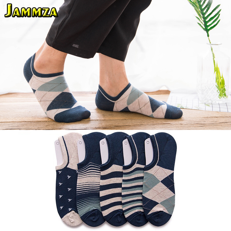 HOT New Fashion Men Invisible Business Socks Cotton Stripe No Show Simple Sporty Breathable Sweat Sox Korea Style Dot Wild Socks