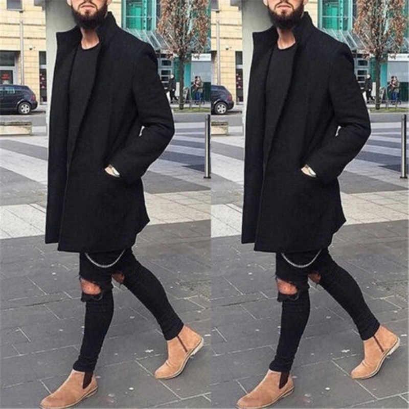Mannen Modis Open Stitch Trenchcoat Wol Retro Warme Lange Overjas Slanke Fitness Zwart Rood Trenchcoat Man Uitloper Streetwear