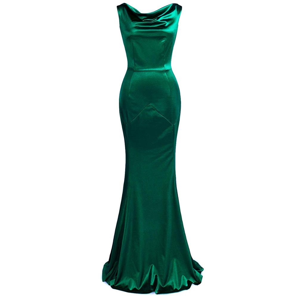 Elastic Mermaid Long Evening Dresses Charming And Sexy Backless O-neck Formal Dress Fashion Celebrity 30s Robe De Soiree