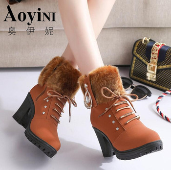 2019 Ankle Boots Women Warm Plush Snow Booties Winter Boot Lace Up Crystal Design Woman Fashion Shoes High Square Heels Botas