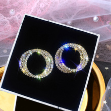 FYUAN Fashion Korean Style Multiple Circle Stud Earrings Luxury Gold Silver Color Rhinestone for Women Weddings Jewelry