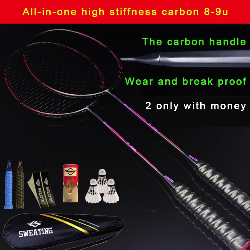 2 Pieces Shot High Just Full Carbon Integrated Carbon Handle Badminton Racket Ultra Light 8U 9U Resistant To Carbon Fiber