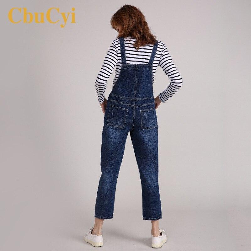 Women Casual Loose Print Denim Jumpsuit Ripped Overalls Bandage Harem Trousers
