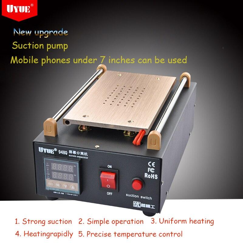 UYUE 948Q Built-in Pump Vacuum Glass LCD Screen Touch Screen Separator Mobile Phone Disassemble cellphone Repair Tool Max 7 inch