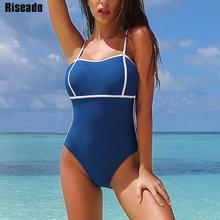 Riseado Sexy jednoczęściowy strój kąpielowy kobiety 2020 Bandeau stroje kąpielowe kostiumy kąpielowe niebieski pasek strój kąpielowy kobiety lato odzież plażowa