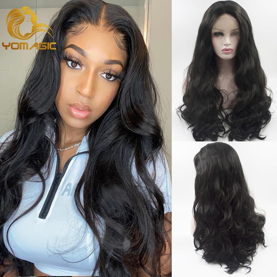 Yomagic волосы волнистые кружевные передние парики для женщин черный цвет синтетические волосы без клея кружевные парики с естественной линие...