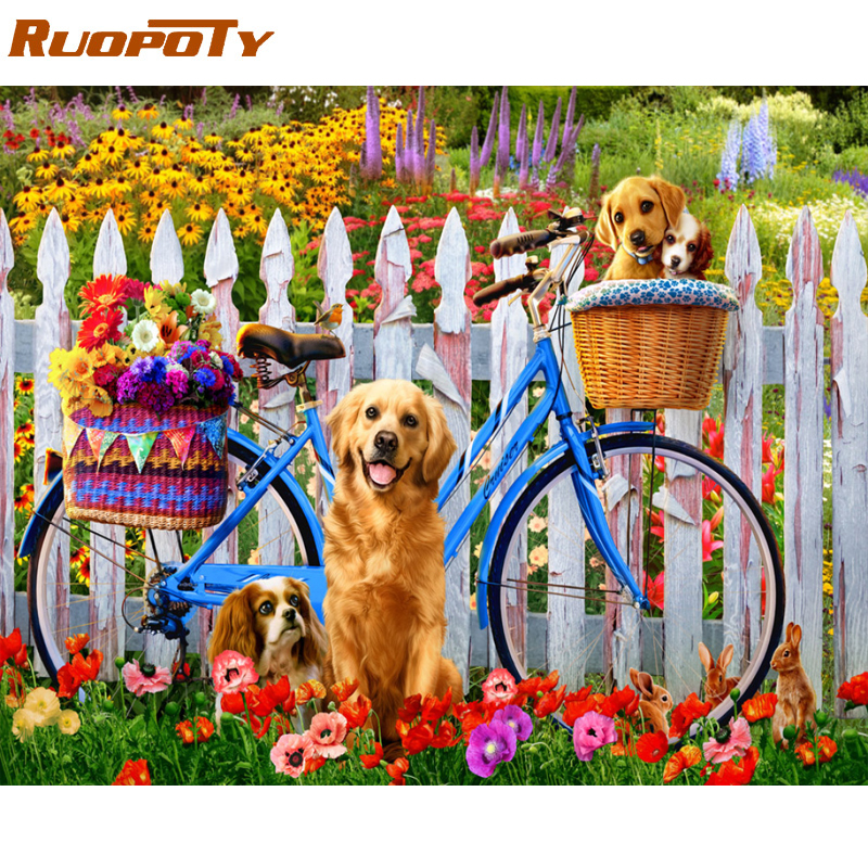 RUOPOTY Frame Dog Animals DIY Painting By Numbers Acrylic Canvas Painting Home Decoration Unique Gift Modern Wall Art Picture image