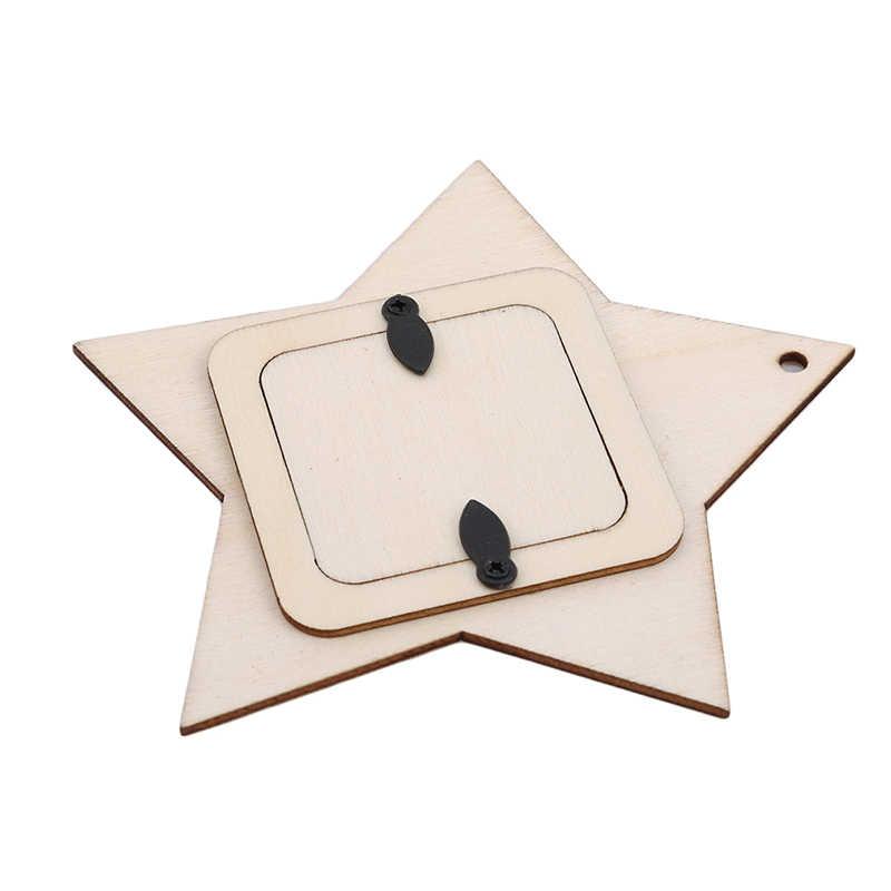 10 יח'\סט לייזר לחתוך עץ כוכב מחומש קישוט עץ צורת קרפט חתונת דקור