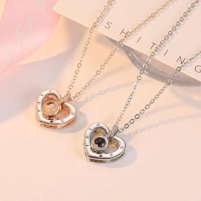 CARSINEL בצורת לב אני אוהב אותך 100 שפות הקרנה שרשרת עלה זהב וכסף רומנטי אהבת זיכרון שרשרת תכשיטים