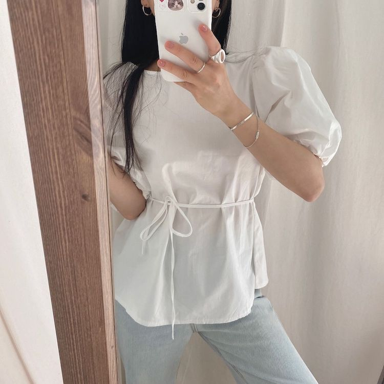 He6aabfb77822407b9cf7dc06d69dfba8w - Summer O-Neck Short Puff Sleeves Cotton Lace-Up Solid Blouse