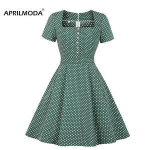 Зеленое летнее женское Ретро винтажное платье в горошек 1950s 60s платья женские Pinup рокабилли Сексуальные вечерние платья Туника Vestidos