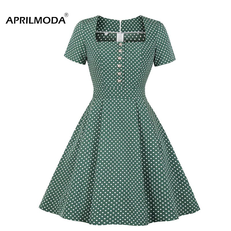 Green Summer Women Retro <font><b>Vintage</b></font> <font><b>Dress</b></font> Polka Dots <font><b>1950s</b></font> <font><b>60s</b></font> <font><b>Dresses</b></font> Female Pinup Rockabilly Sexy Party <font><b>Dresses</b></font> Tunic Vestidos image