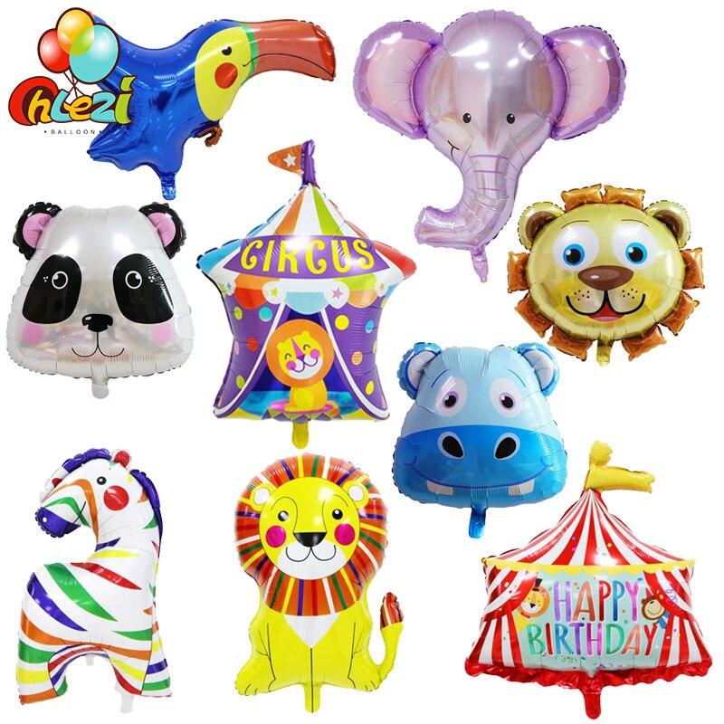 1 шт. цирковых животных на день рождения воздушные шары из фольги слон лев Зебра птица воздушный шар с гелием на день рождения вечерние украш...