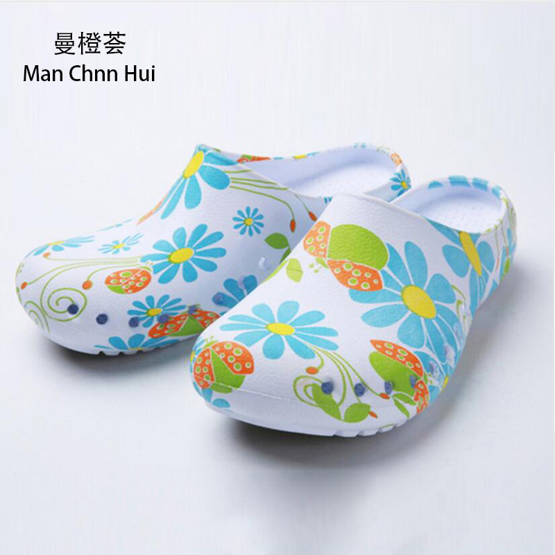 blue Surgical room Slippers Doctor Surgical shoes Nurse shoes women Printed sandals and slippers Experimental non-slip shoes image