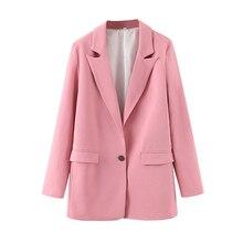 Women Pink Suit Blazer Single Button Female Long Sleeve Eleg