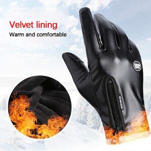 Image 5 - Зимние мужские и женские перчатки для велоспорта, кожаные перчатки с полным пальцем, водонепроницаемые, ветрозащитные, противоскользящие, сенсорный экран, лыжные, спортивные перчатки для спорта на открытом воздухе