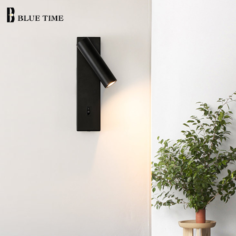 Minimalist Wall Lamps Living Room Bedroom Bedside LED Sconce Black White Lamp Aisle Lighting Decoration Wall Light Wall Lamp