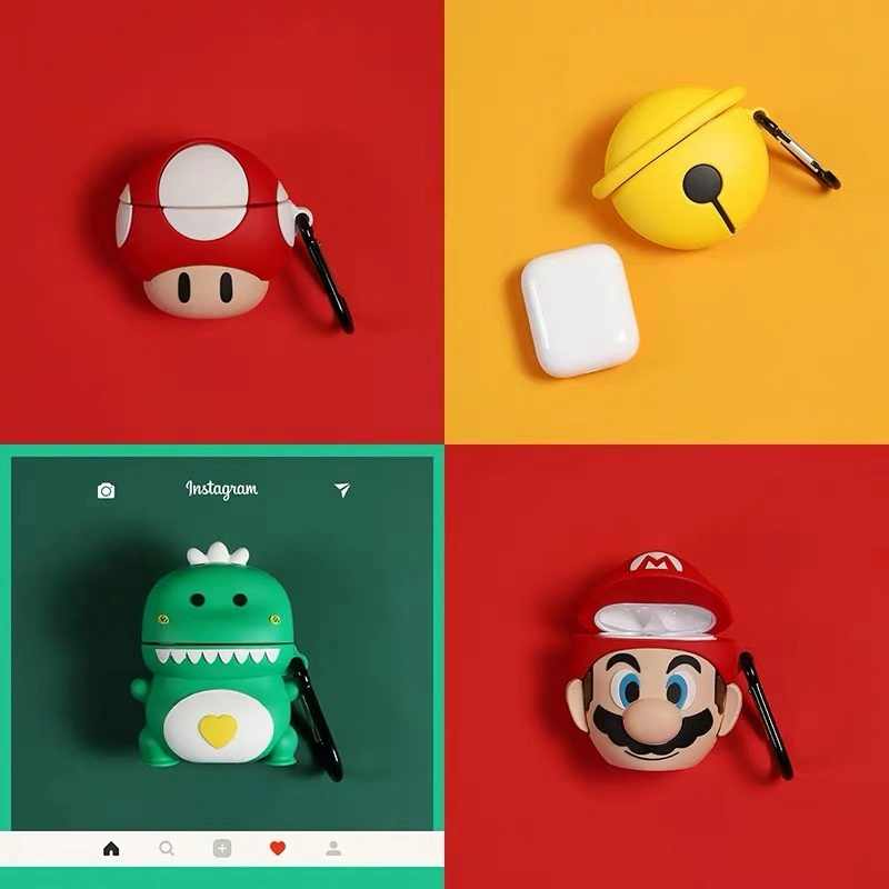 3D Silicone Cartoon Coque Super Marios Bros Case for air pods 1 2 earphone Cover For Apple Airpods Silicone Cases Funda