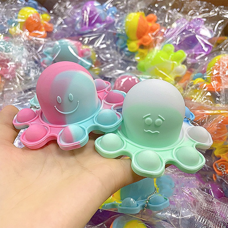 Luminous Keychain Stress Relief Squishy Pops It Fidget Toys Octopus Push Bubble Pops Fidget Sensory Toy For Autism Special Gifts
