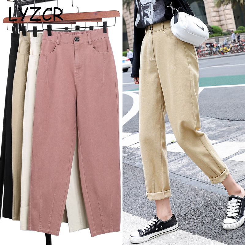 LYZCR Summmer Denim Khaki Jeans Woman 2020 Loose Women Mom Boyfirends Jeans Femme Ankle Length Women's Jeans Pencil Cotton Pants