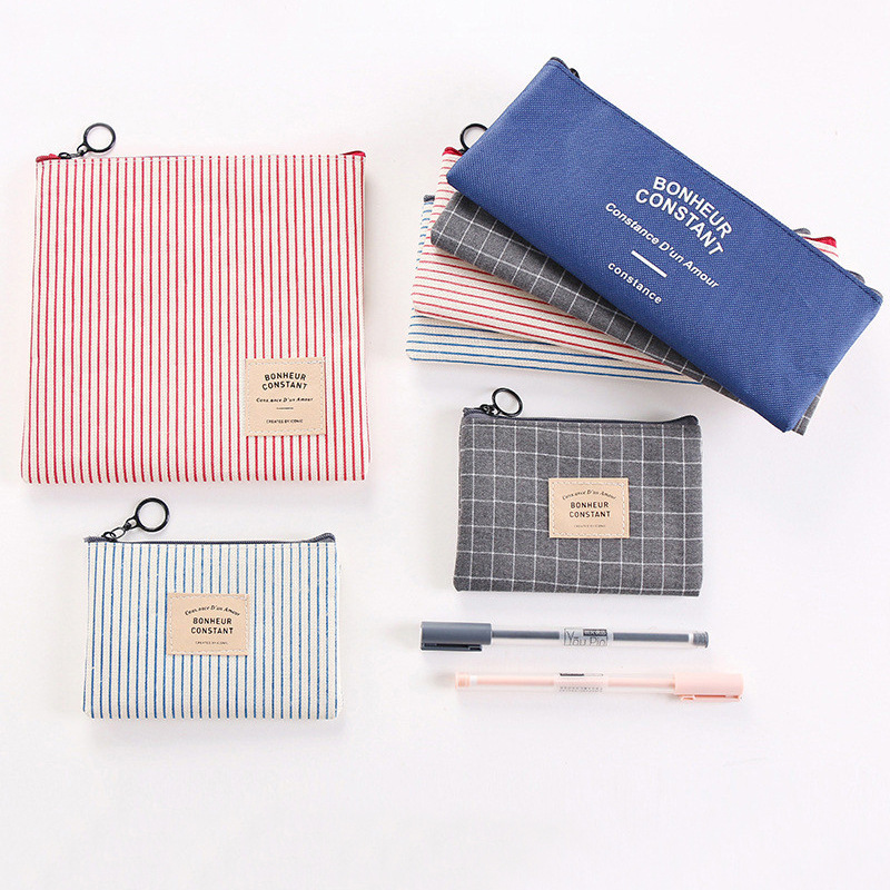 0619 South Korea Stationery Simple Pencil Case Men And Women Students Large Capacity Canvas Pencil Purse Storage Hua Zhuang Bao