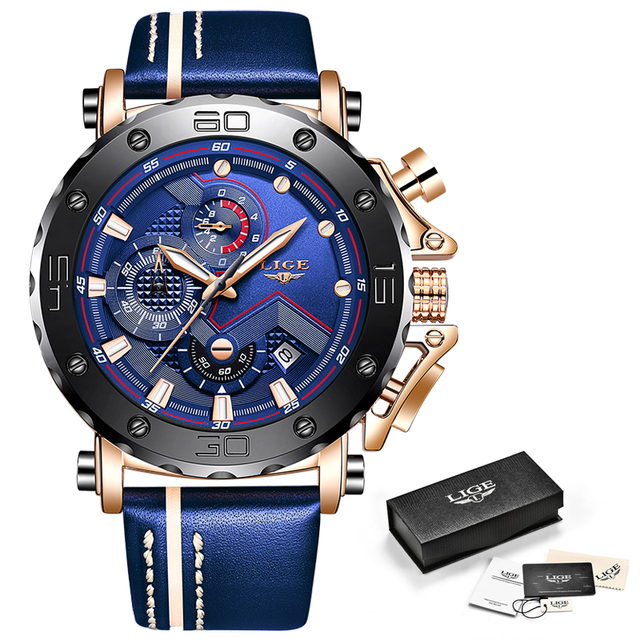 2020 LIGE Mens Luxury Fashion Leather Waterproof Sport Chronograph Watch 6