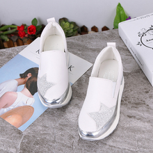 2020 Comfort Creepers Bling Loafers Silver Platform Shoes Woman Slip On Swing