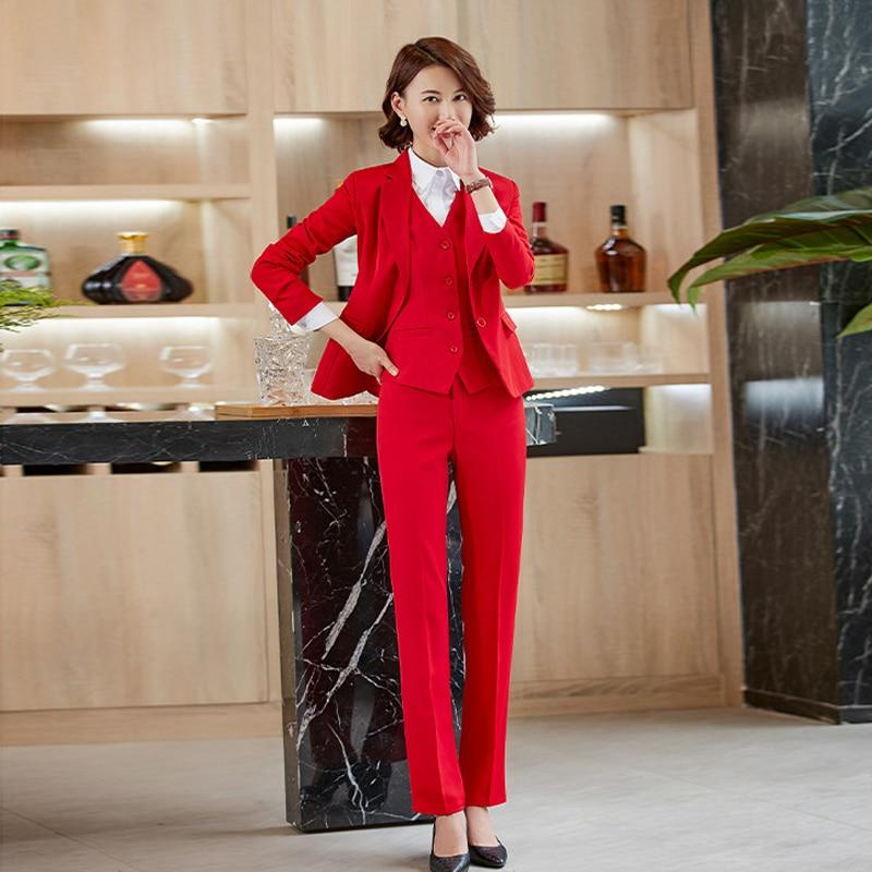 2020 New Professional Women's Suit Overalls Feminine Stylish High Quality Slim Ladies Blazer Slim-fit Trousers Two-piece