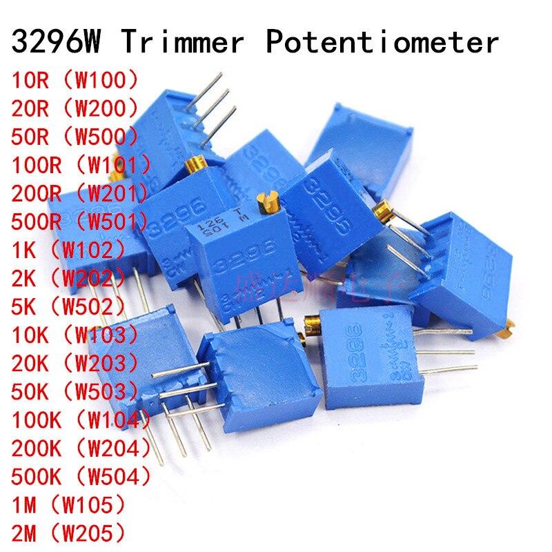 Pcs 3296W 10 10 50 100 200 500 ohm 20 10 5 2 1K K K K K K 100K 200K 500K 1 50 M 2M ohm 103 100R 200R 500R Trimpot Trimmer Potenciômetro