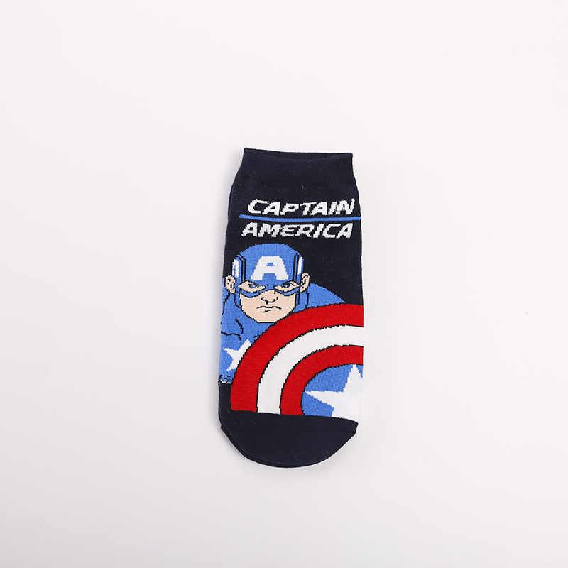 Marvel Comics Hero ผู้หญิงถุงเท้าการ์ตูน Iron Man กัปตันอเมริกา Cosplay Spiderman Thor Hulk Kawaii Casual ฤดูร้อนถุงเท้าตลก