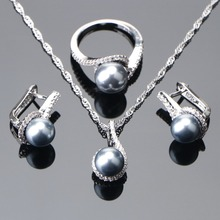 925 Sterling Silver Bridal Pearl Jewelry Sets Earrings For Women Wedding Jewelry Zircon Stone Pearl Ring Pendant Necklaces Set